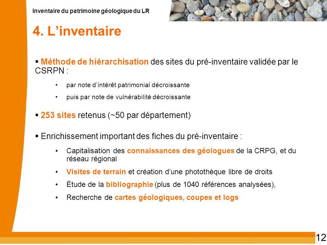 Inventaire du patrimoine géologique du LR 12 4. L'inventaire  Méthode de hiérarchisation des sites du pré-inventaire validée par le CSRPN : par note