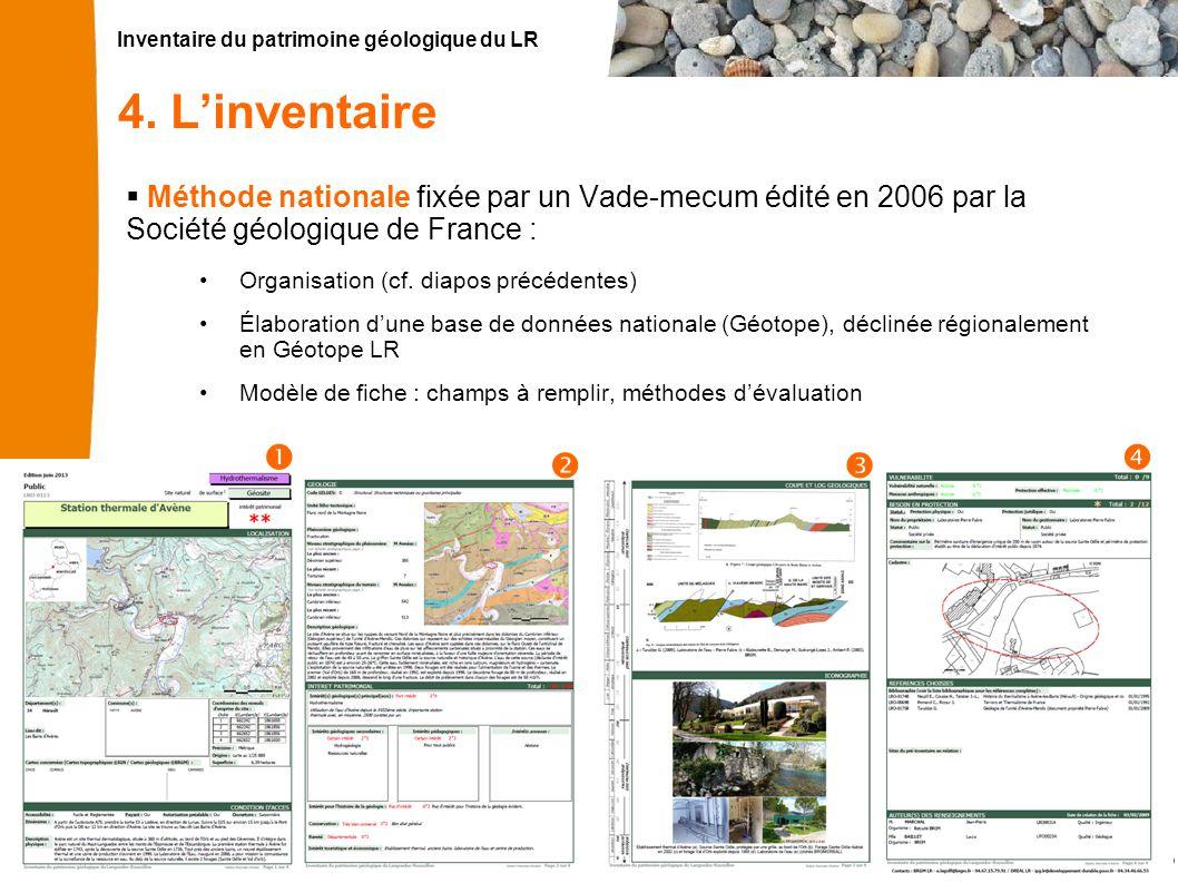 Inventaire du patrimoine géologique du LR 13 4. L'inventaire  Méthode nationale fixée par un Vade-mecum édité en 2006 par la Société géologique de Fr