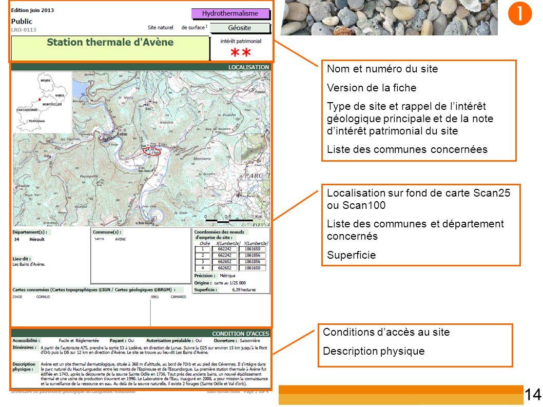 Inventaire du patrimoine géologique du LR 14  Localisation sur fond de carte Scan25 ou Scan100 Liste des communes et département concernés Superficie