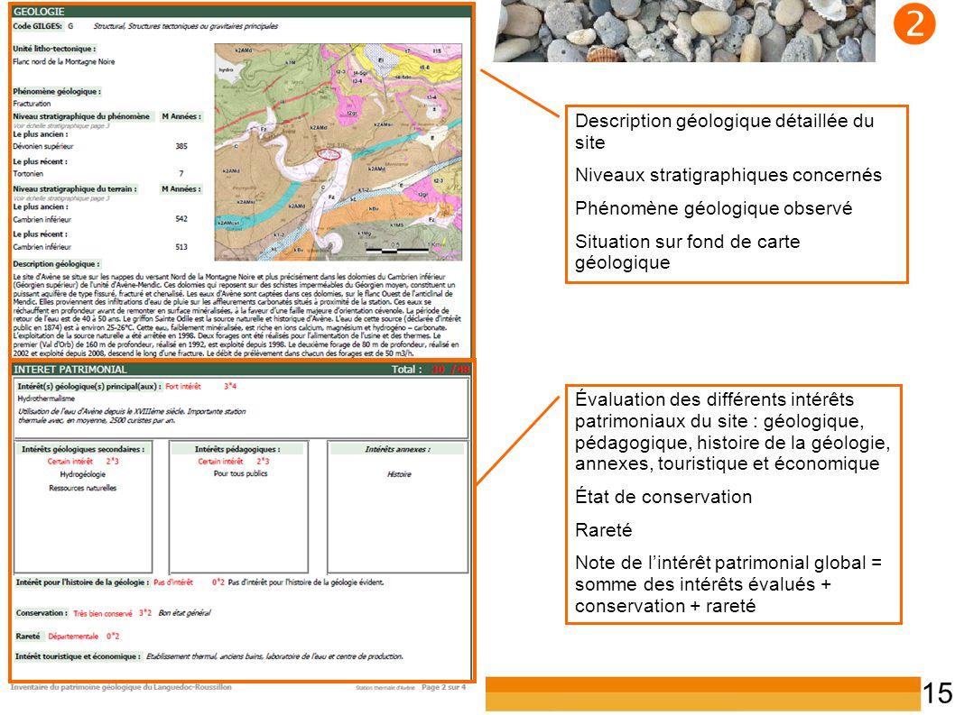 Inventaire du patrimoine géologique du LR 15  Évaluation des différents intérêts patrimoniaux du site : géologique, pédagogique, histoire de la géolo
