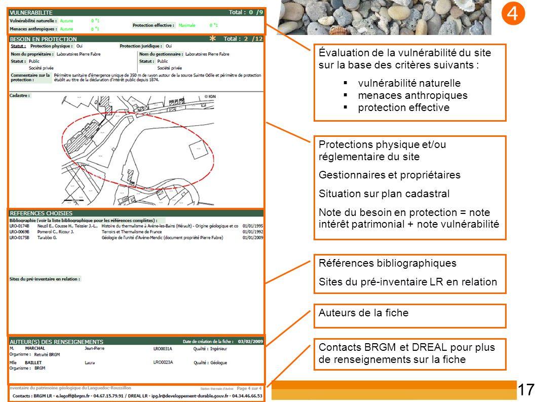 Inventaire du patrimoine géologique du LR 17  Protections physique et/ou réglementaire du site Gestionnaires et propriétaires Situation sur plan cada