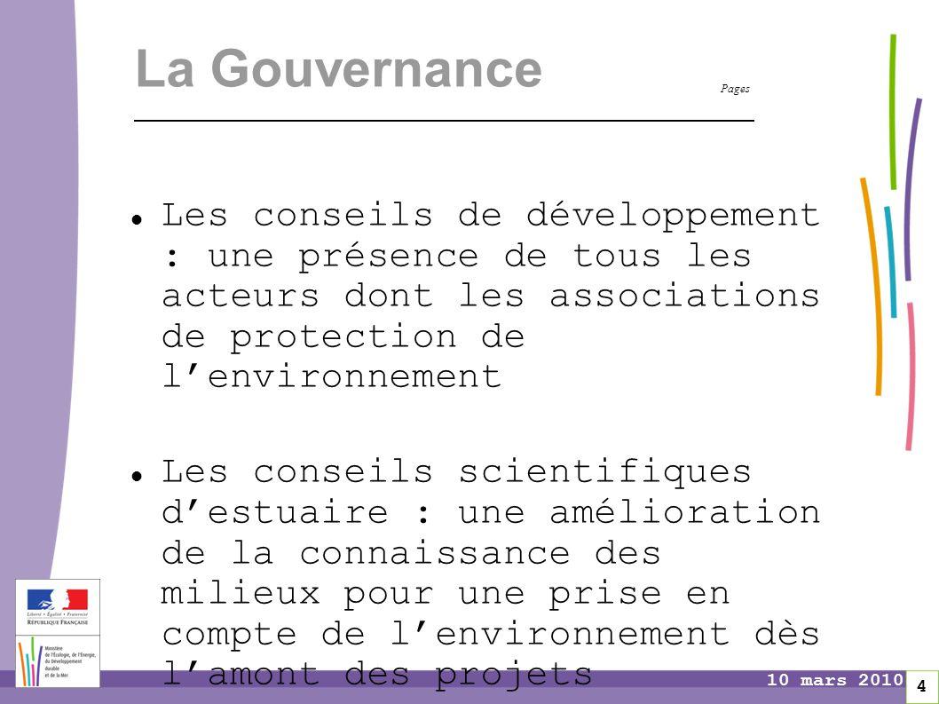 Pages 4 10 mars 2010 La Gouvernance Les conseils de développement : une présence de tous les acteurs dont les associations de protection de l'environn