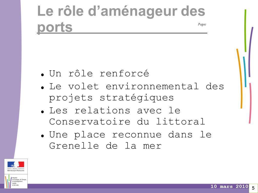Pages 5 10 mars 2010 Le rôle d'aménageur des ports Un rôle renforcé Le volet environnemental des projets stratégiques Les relations avec le Conservato