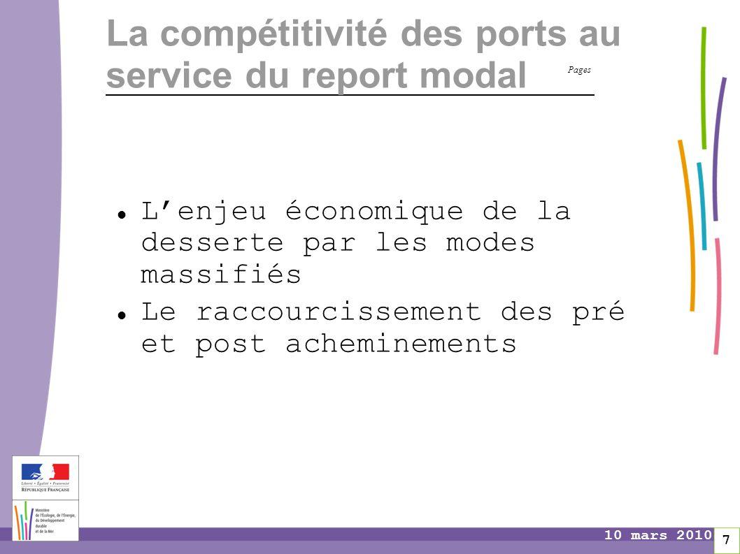 Pages 7 10 mars 2010 La compétitivité des ports au service du report modal L'enjeu économique de la desserte par les modes massifiés Le raccourcisseme