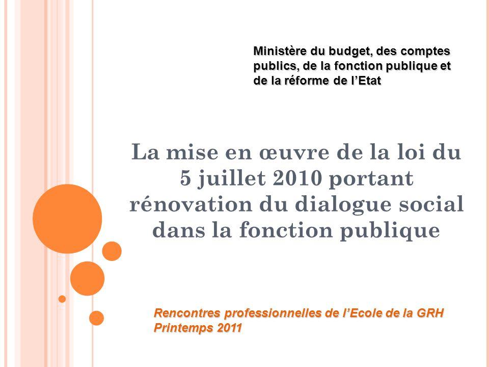 La mise en œuvre de la loi du 5 juillet 2010 portant rénovation du dialogue social dans la fonction publique Ministère du budget, des comptes publics, de la fonction publique et de la réforme de l'Etat Rencontres professionnelles de l'Ecole de la GRH Printemps 2011