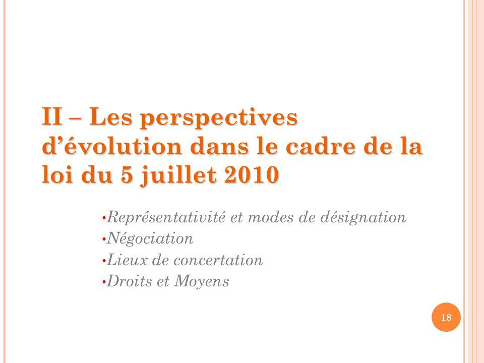 18 II – Les perspectives d'évolution dans le cadre de la loi du 5 juillet 2010 Représentativité et modes de désignation Négociation Lieux de concertation Droits et Moyens