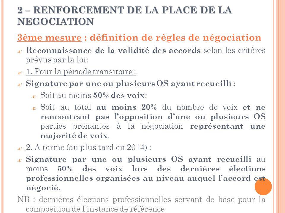 2 – RENFORCEMENT DE LA PLACE DE LA NEGOCIATION 3ème mesure : définition de règles de négociation  Reconnaissance de la validité des accords selon les critères prévus par la loi:  1.