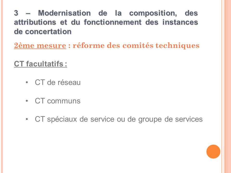 3 – Modernisation de la composition, des attributions et du fonctionnement des instances de concertation 2ème mesure : réforme des comités techniques CT facultatifs : CT de réseau CT communs CT spéciaux de service ou de groupe de services