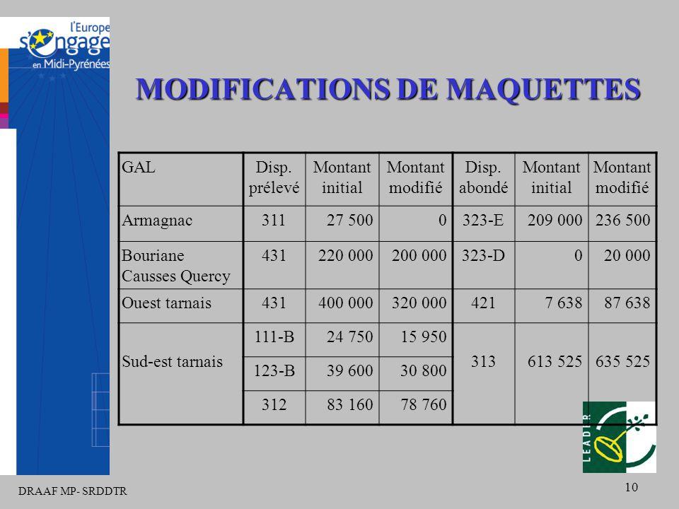 DRAAF MP- SRDDTR 10 MODIFICATIONS DE MAQUETTES GALDisp. prélevé Montant initial Montant modifié Disp. abondé Montant initial Montant modifié Armagnac3