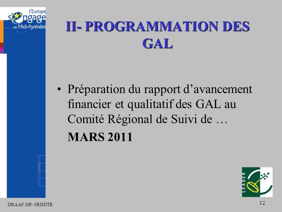 DRAAF MP- SRDDTR 12 II- PROGRAMMATION DES GAL Préparation du rapport d'avancement financier et qualitatif des GAL au Comité Régional de Suivi de … MARS 2011
