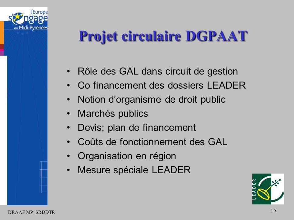 DRAAF MP- SRDDTR 15 Projet circulaire DGPAAT Rôle des GAL dans circuit de gestion Co financement des dossiers LEADER Notion d'organisme de droit publi
