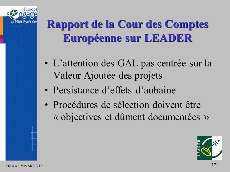 DRAAF MP- SRDDTR 17 Rapport de la Cour des Comptes Européenne sur LEADER L'attention des GAL pas centrée sur la Valeur Ajoutée des projets Persistance d'effets d'aubaine Procédures de sélection doivent être « objectives et dûment documentées »