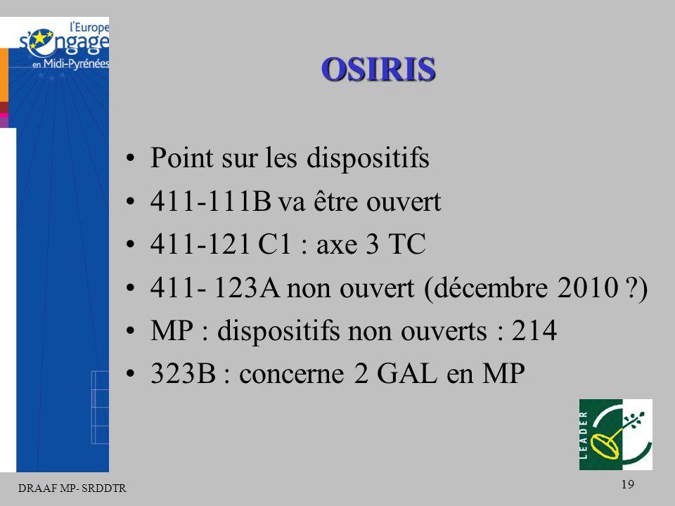 DRAAF MP- SRDDTR 19 OSIRIS Point sur les dispositifs 411-111B va être ouvert 411-121 C1 : axe 3 TC 411- 123A non ouvert (décembre 2010 ) MP : dispositifs non ouverts : 214 323B : concerne 2 GAL en MP