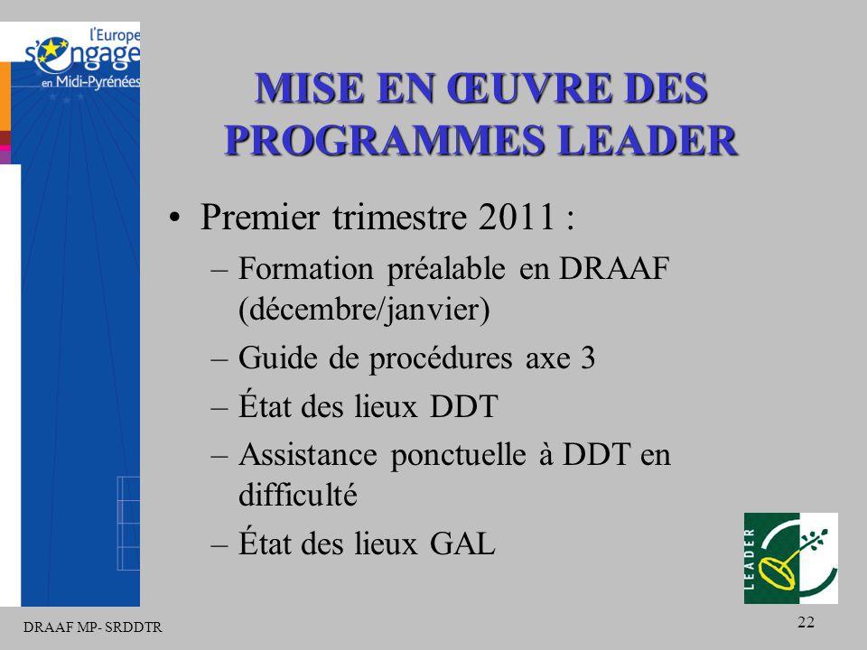 DRAAF MP- SRDDTR 22 MISE EN ŒUVRE DES PROGRAMMES LEADER Premier trimestre 2011 : –Formation préalable en DRAAF (décembre/janvier) –Guide de procédures