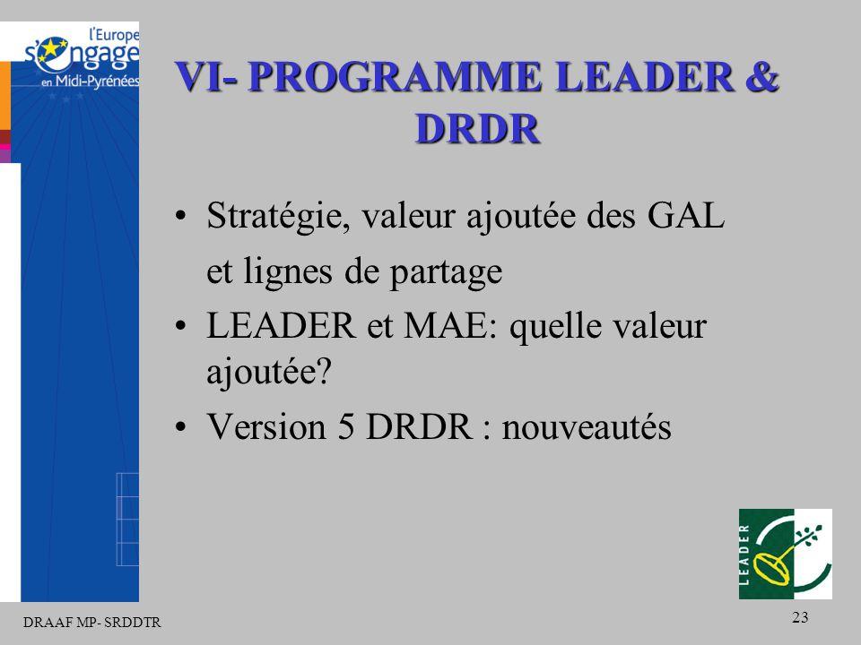 DRAAF MP- SRDDTR 23 VI- PROGRAMME LEADER & DRDR Stratégie, valeur ajoutée des GAL et lignes de partage LEADER et MAE: quelle valeur ajoutée.