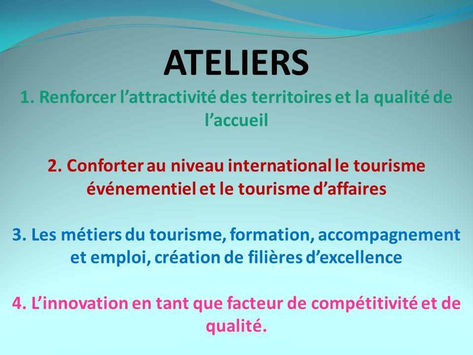 ATELIERS 1. Renforcer l'attractivité des territoires et la qualité de l'accueil 2.