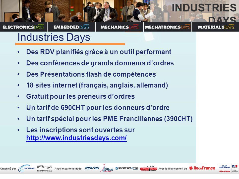 Industries Days Des RDV planifiés grâce à un outil performant Des conférences de grands donneurs d'ordres Des Présentations flash de compétences 18 sites internet (français, anglais, allemand) Gratuit pour les preneurs d'ordres Un tarif de 690€HT pour les donneurs d'ordre Un tarif spécial pour les PME Franciliennes (390€HT) Les inscriptions sont ouvertes sur http://www.industriesdays.com/ http://www.industriesdays.com/ INDUSTRIES DAYS