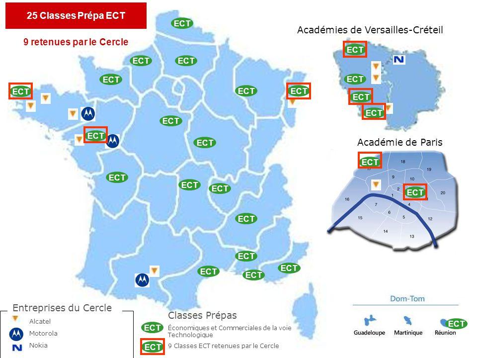 Académies de Versailles-Créteil Académie de Paris ECT Entreprises du Cercle Alcatel Motorola Nokia Classes Prépas Économiques et Commerciales de la voie Technologique 9 Classes ECT retenues par le Cercle ECT 25 Classes Prépa ECT 9 retenues par le Cercle