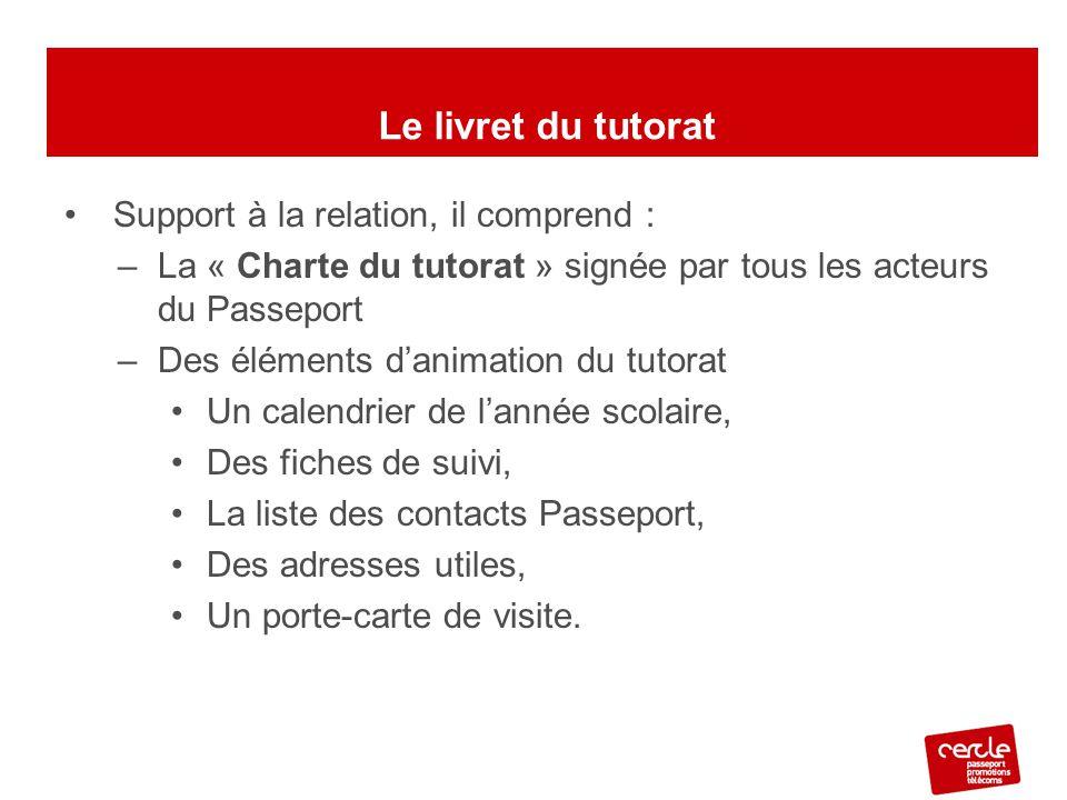 Support à la relation, il comprend : –La « Charte du tutorat » signée par tous les acteurs du Passeport –Des éléments d'animation du tutorat Un calend