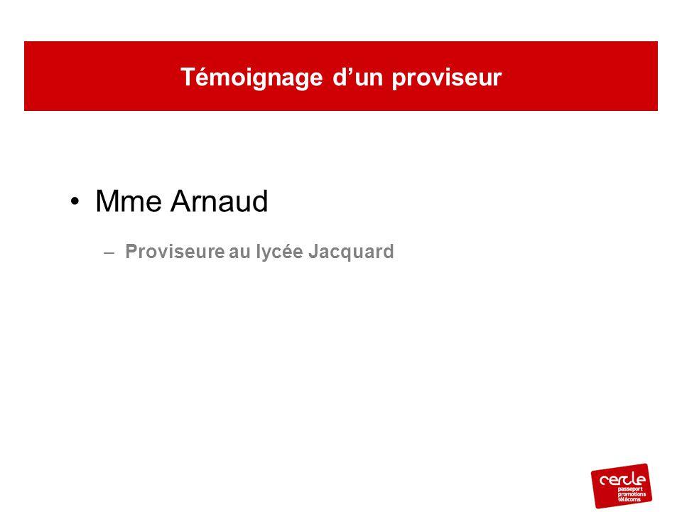 Mme Arnaud –Proviseure au lycée Jacquard Témoignage d'un proviseur