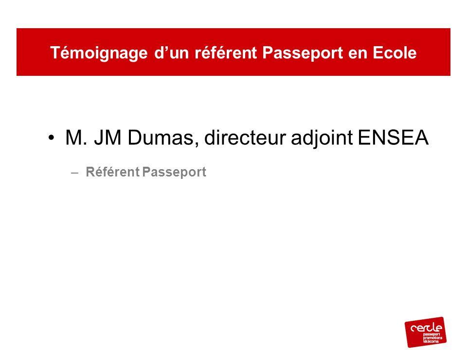 M. JM Dumas, directeur adjoint ENSEA –Référent Passeport Témoignage d'un référent Passeport en Ecole