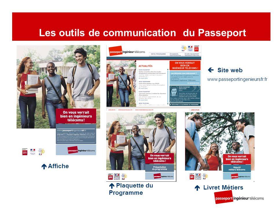  Affiche  Plaquette du Programme  Livret Métiers  Site web www.passeportingenieursfr.fr Les outils de communication du Passeport