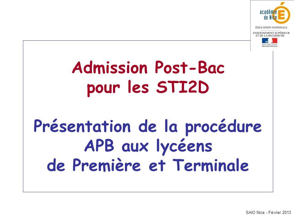 SAIO Nice - Février 2013 Admission Post-Bac pour les STI2D Présentation de la procédure APB aux lycéens de Première et Terminale