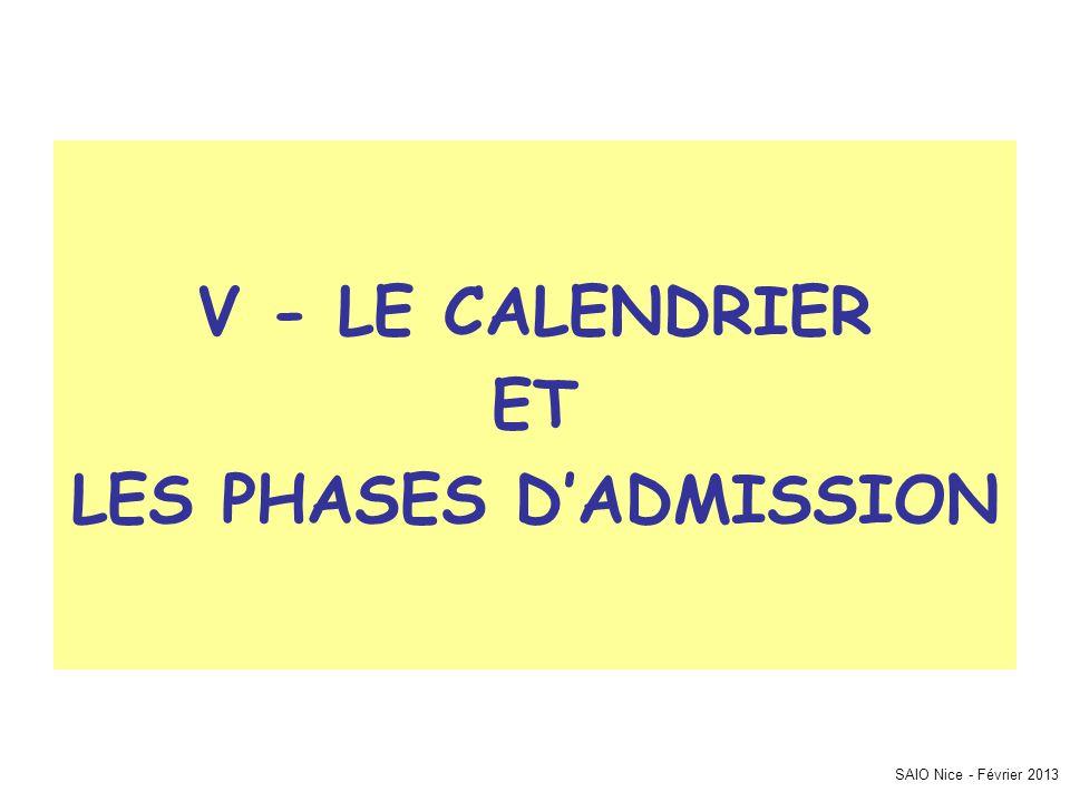 SAIO Nice - Février 2013 V - LE CALENDRIER ET LES PHASES D'ADMISSION