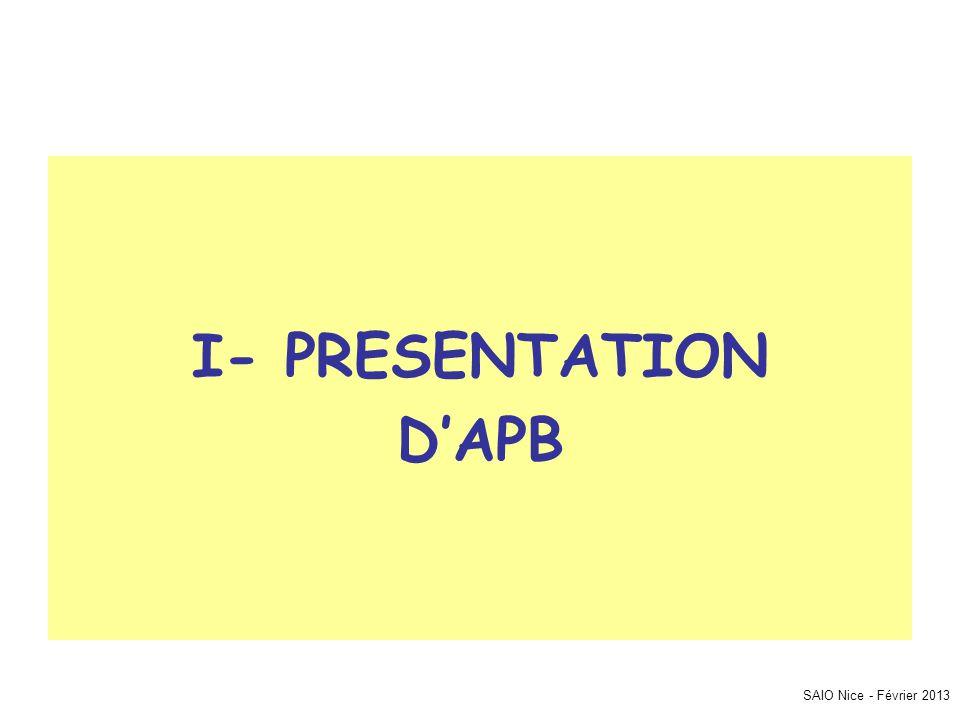 SAIO Nice - Février 2013 I- PRESENTATION D'APB