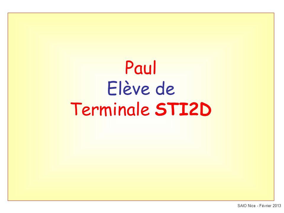 SAIO Nice - Février 2013 Paul Elève de Terminale STI2D