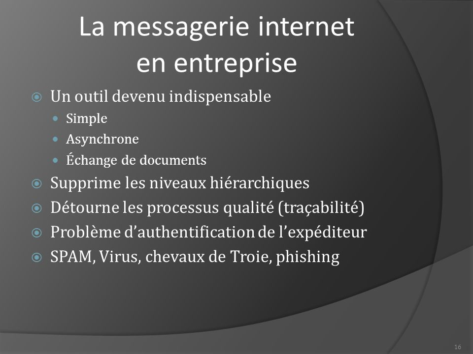16 La messagerie internet en entreprise  Un outil devenu indispensable Simple Asynchrone Échange de documents  Supprime les niveaux hiérarchiques 