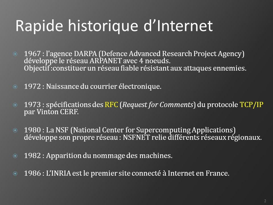 Rapide historique d'Internet  1967 : l agence DARPA (Defence Advanced Research Project Agency) développe le réseau ARPANET avec 4 noeuds.