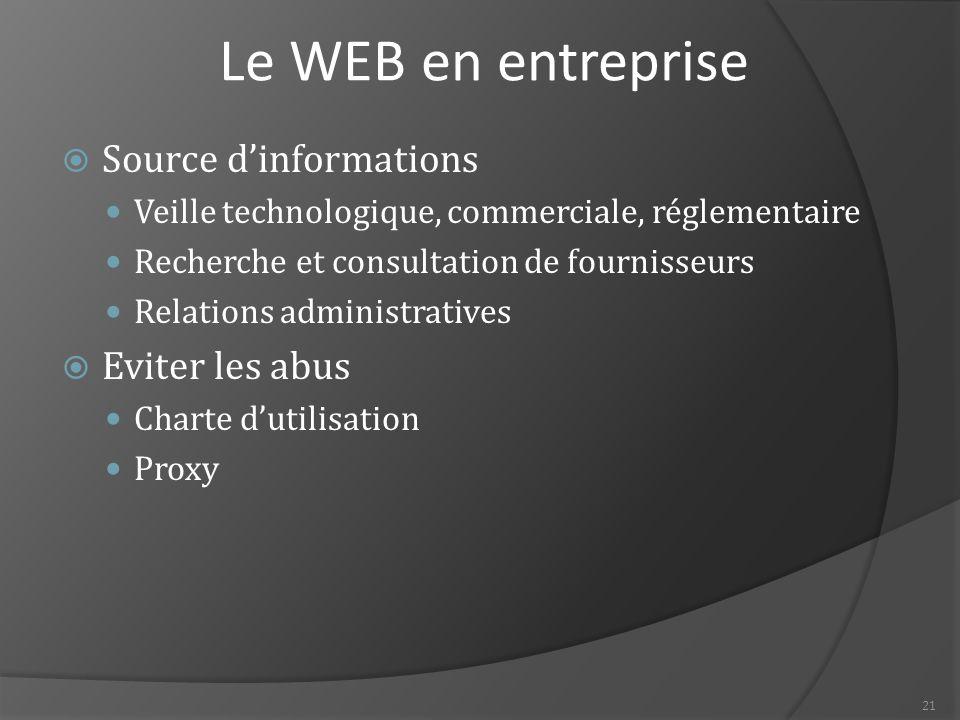 21 Le WEB en entreprise  Source d'informations Veille technologique, commerciale, réglementaire Recherche et consultation de fournisseurs Relations administratives  Eviter les abus Charte d'utilisation Proxy