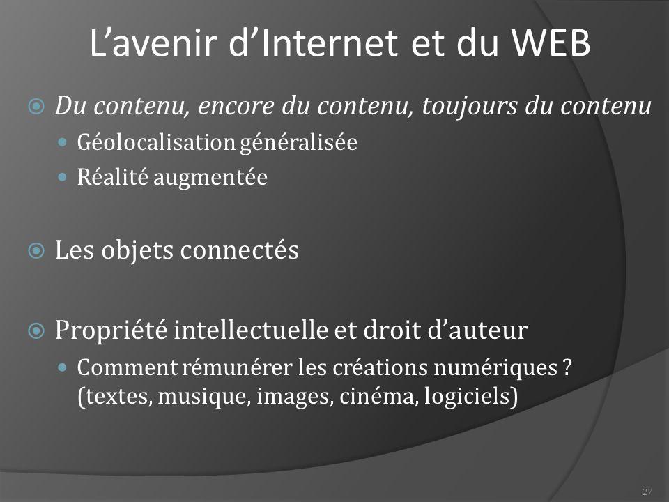 27 L'avenir d'Internet et du WEB  Du contenu, encore du contenu, toujours du contenu Géolocalisation généralisée Réalité augmentée  Les objets connectés  Propriété intellectuelle et droit d'auteur Comment rémunérer les créations numériques .