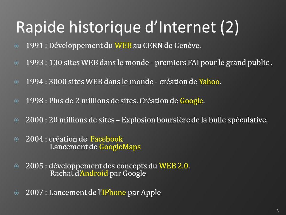 24 Le WEB 2.0  Techniquement Combinaison du DHTML et du Javascript permettant de rendre les pages WEB complètement interactives Sites WEB entièrement conçus avec des bases de données  Entre serveurs et dans les logiciels Flux d'informations (RSS) Services WEB  Pour les internautes Réseaux sociaux Blogs