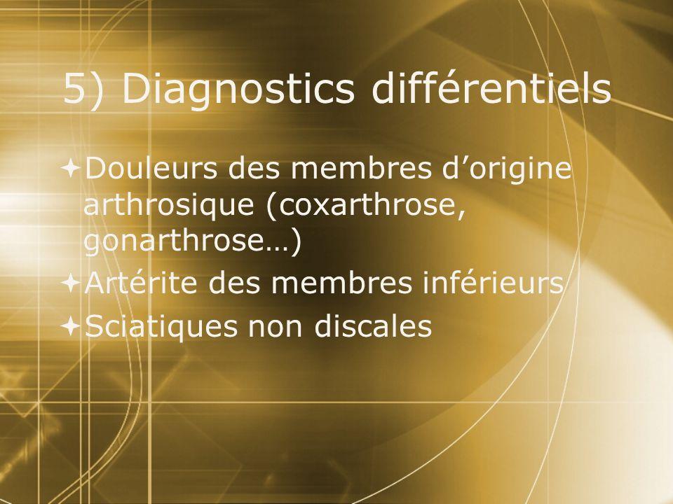 5) Diagnostics différentiels  Douleurs des membres d'origine arthrosique (coxarthrose, gonarthrose…)  Artérite des membres inférieurs  Sciatiques n
