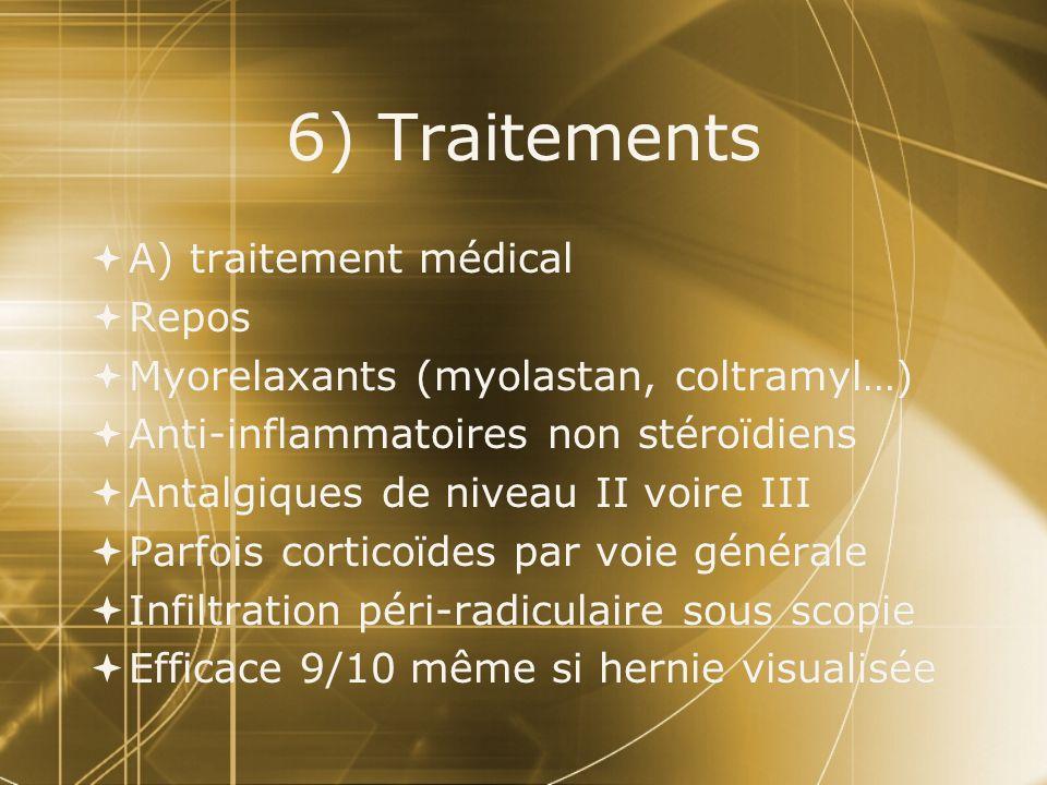 6) Traitements  A) traitement médical  Repos  Myorelaxants (myolastan, coltramyl…)  Anti-inflammatoires non stéroïdiens  Antalgiques de niveau II voire III  Parfois corticoïdes par voie générale  Infiltration péri-radiculaire sous scopie  Efficace 9/10 même si hernie visualisée  A) traitement médical  Repos  Myorelaxants (myolastan, coltramyl…)  Anti-inflammatoires non stéroïdiens  Antalgiques de niveau II voire III  Parfois corticoïdes par voie générale  Infiltration péri-radiculaire sous scopie  Efficace 9/10 même si hernie visualisée