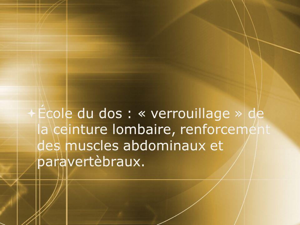  École du dos : « verrouillage » de la ceinture lombaire, renforcement des muscles abdominaux et paravertèbraux.