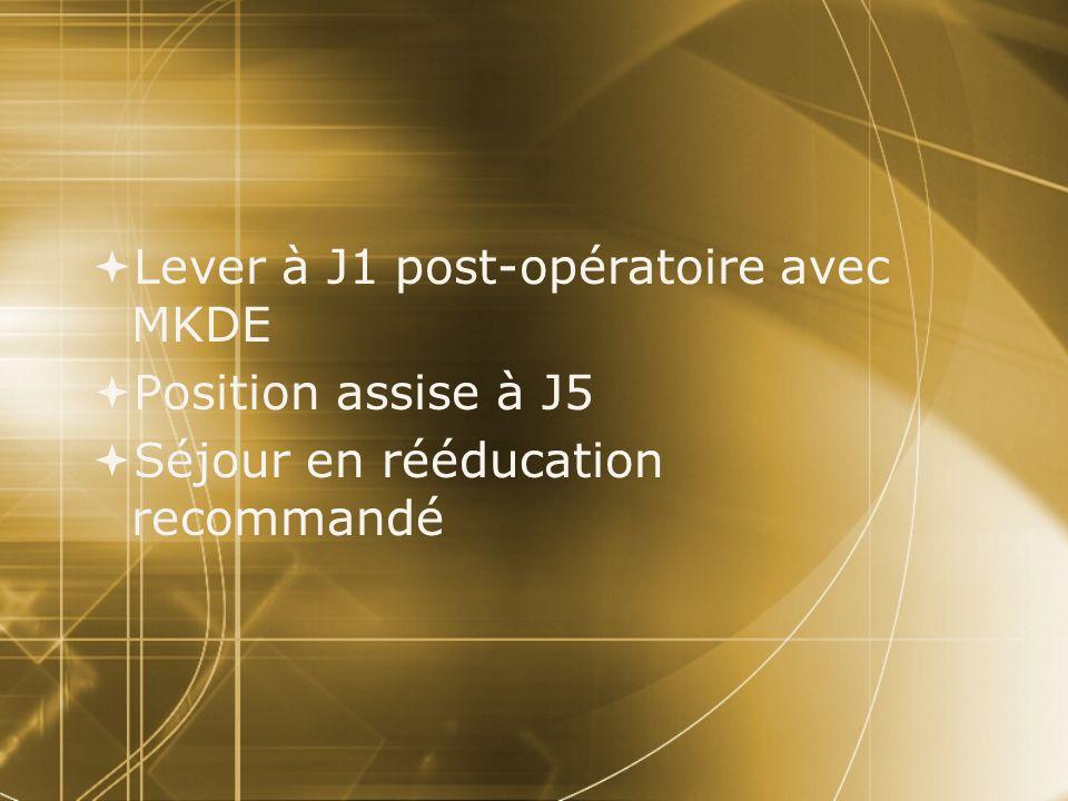  Lever à J1 post-opératoire avec MKDE  Position assise à J5  Séjour en rééducation recommandé  Lever à J1 post-opératoire avec MKDE  Position ass