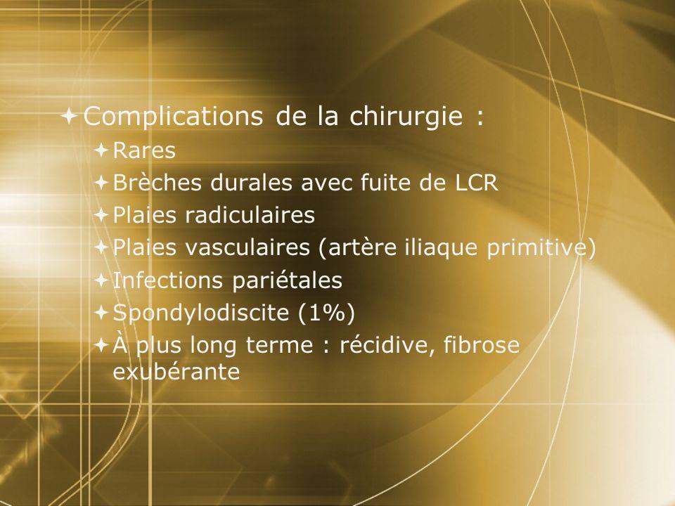  Complications de la chirurgie :  Rares  Brèches durales avec fuite de LCR  Plaies radiculaires  Plaies vasculaires (artère iliaque primitive) 