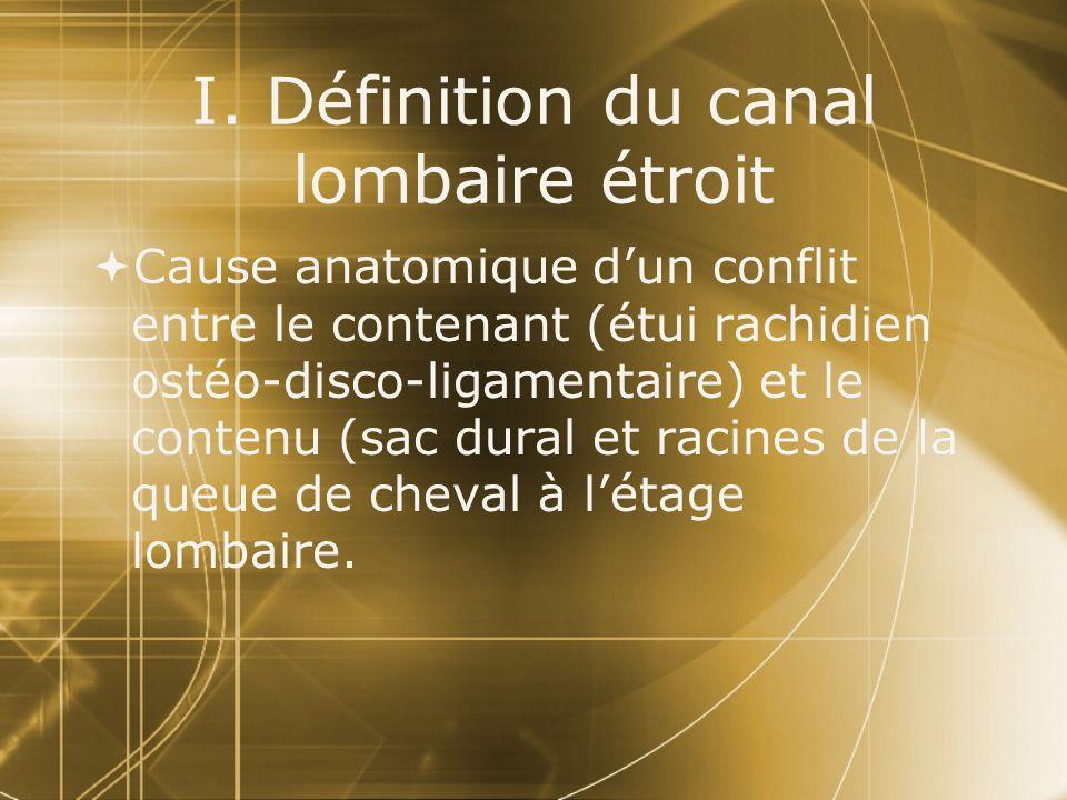 I. Définition du canal lombaire étroit  Cause anatomique d'un conflit entre le contenant (étui rachidien ostéo-disco-ligamentaire) et le contenu (sac