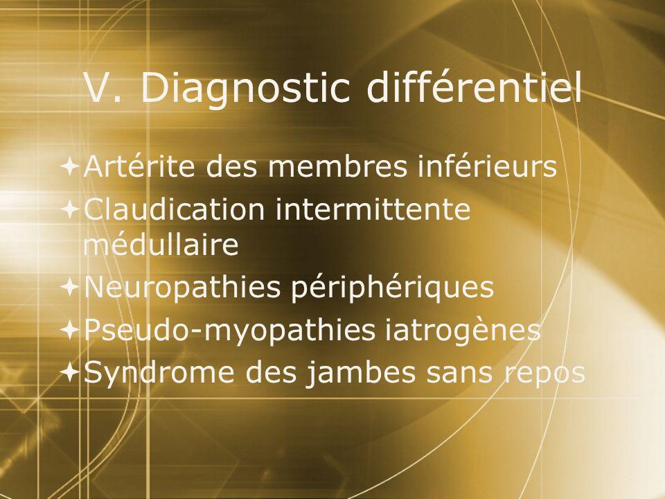 V. Diagnostic différentiel  Artérite des membres inférieurs  Claudication intermittente médullaire  Neuropathies périphériques  Pseudo-myopathies