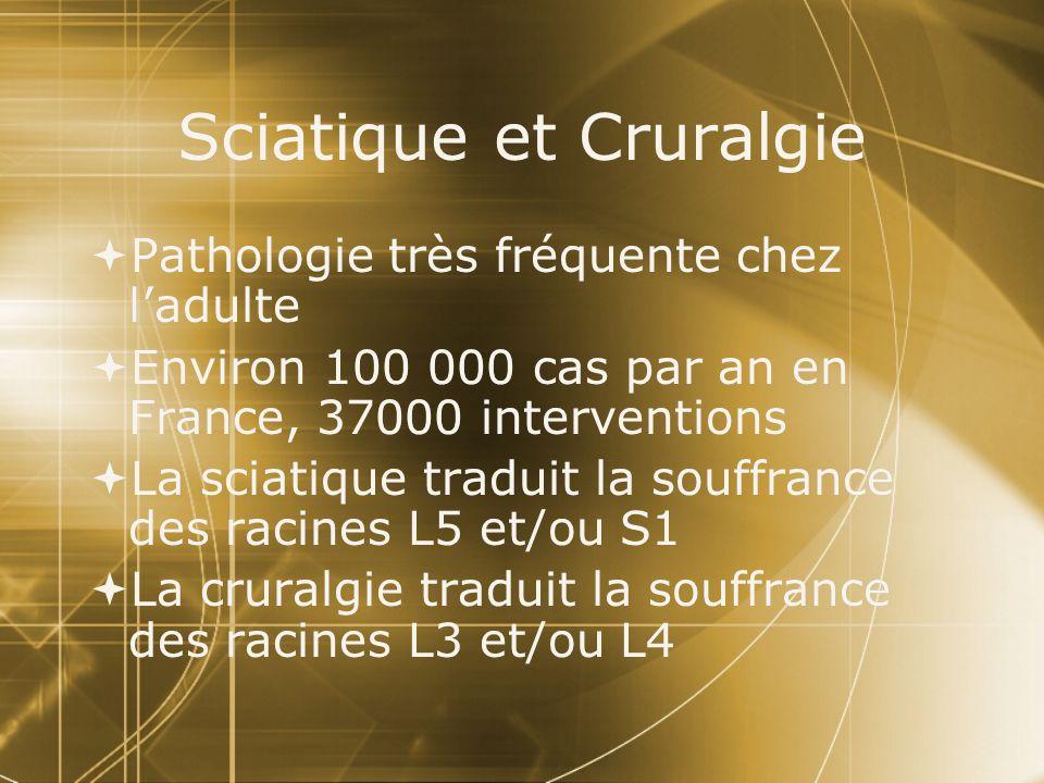 Sciatique et Cruralgie  Pathologie très fréquente chez l'adulte  Environ 100 000 cas par an en France, 37000 interventions  La sciatique traduit la