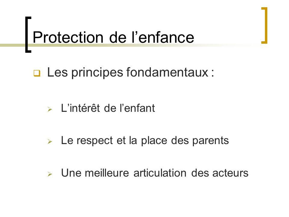 Protection de l'enfance  Les principes fondamentaux :  L'intérêt de l'enfant  Le respect et la place des parents  Une meilleure articulation des acteurs