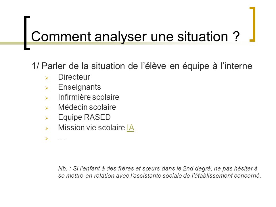 Comment analyser une situation .