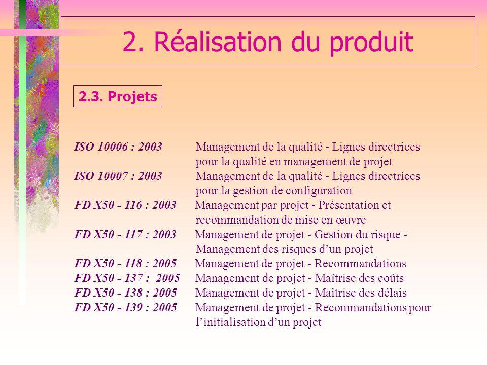 2. Réalisation du produit ISO 10006 : 2003 Management de la qualité - Lignes directrices pour la qualité en management de projet ISO 10007 : 2003 Mana