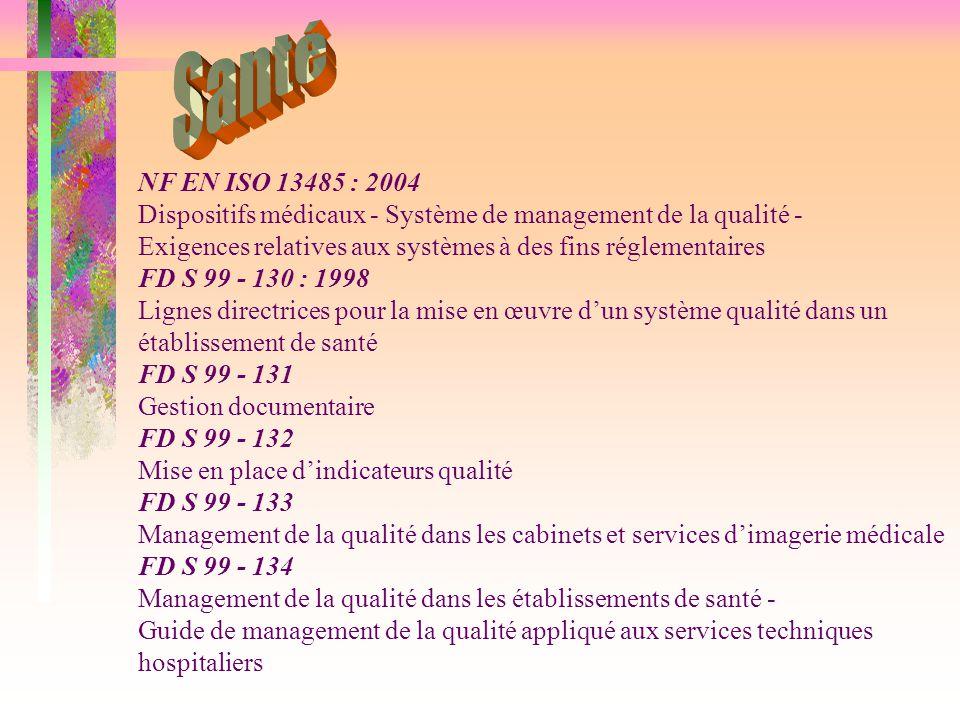 NF EN ISO 13485 : 2004 Dispositifs médicaux - Système de management de la qualité - Exigences relatives aux systèmes à des fins réglementaires FD S 99