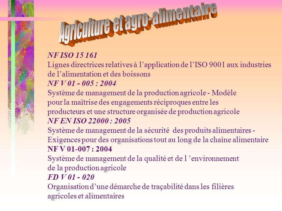 NF ISO 15 161 Lignes directrices relatives à l'application de l'ISO 9001 aux industries de l'alimentation et des boissons NF V 01 - 005 : 2004 Système