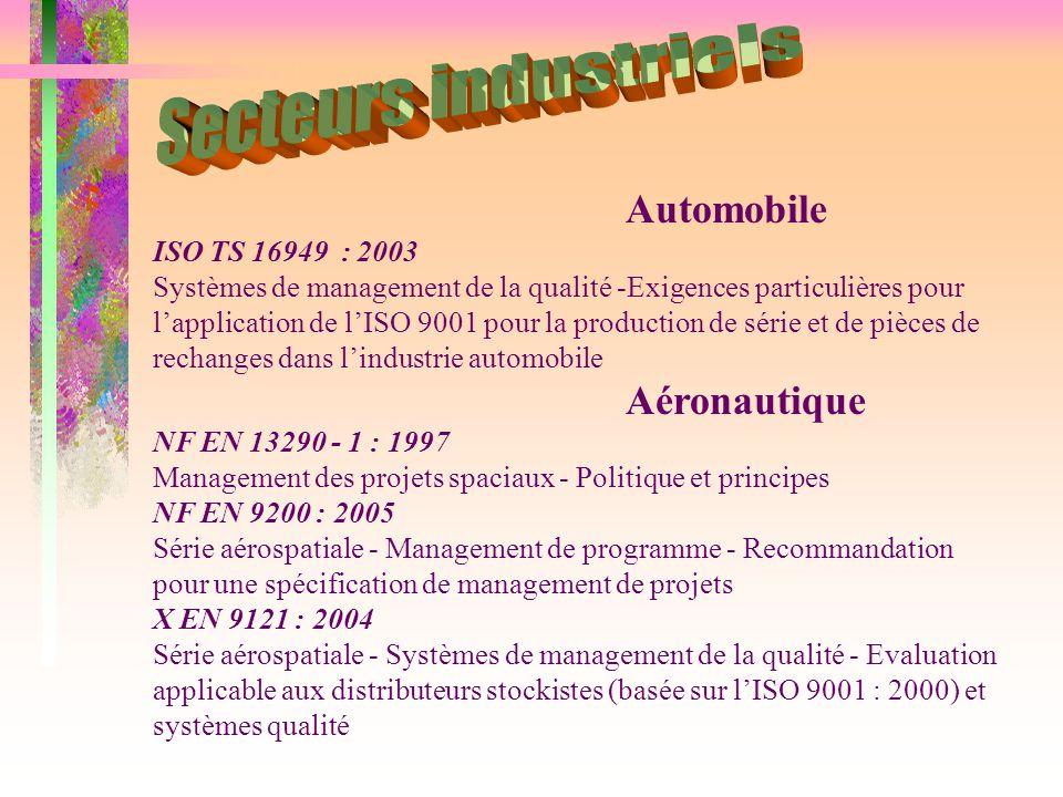 Automobile ISO TS 16949 : 2003 Systèmes de management de la qualité -Exigences particulières pour l'application de l'ISO 9001 pour la production de sé