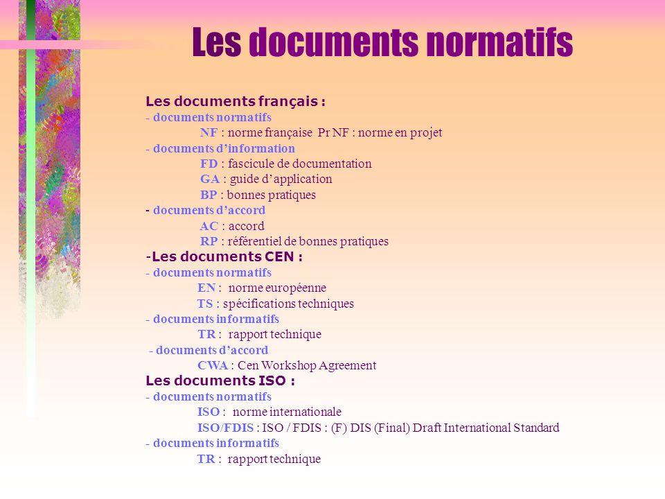 Les documents normatifs Les documents français : - documents normatifs NF : norme française Pr NF : norme en projet - documents d'information FD : fas